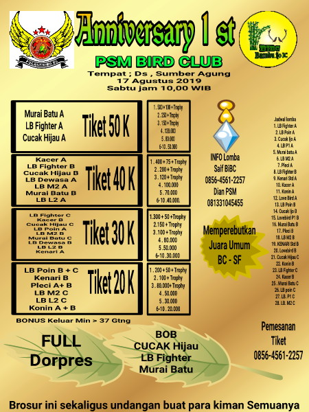 ANNIVERSARY 1ST PSM BIRD CLUB