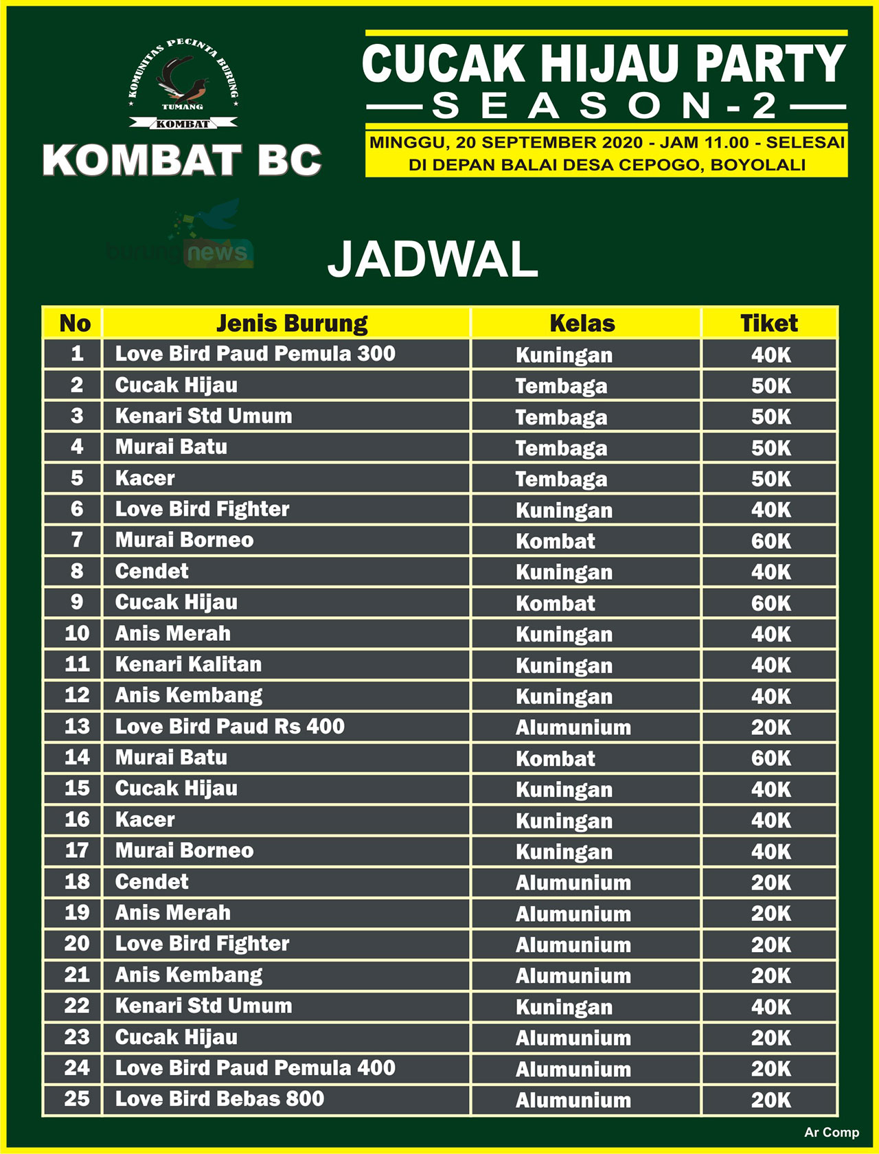 JADWAL LOMBA CUCAK HIJAU PARTY SEASON 2